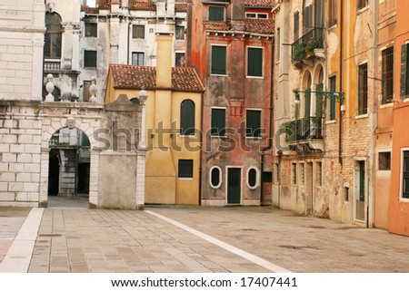 Old city view (Venice, Italy) - stock photo