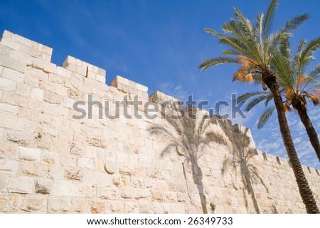 Old city walls of Jerusalem - stock photo