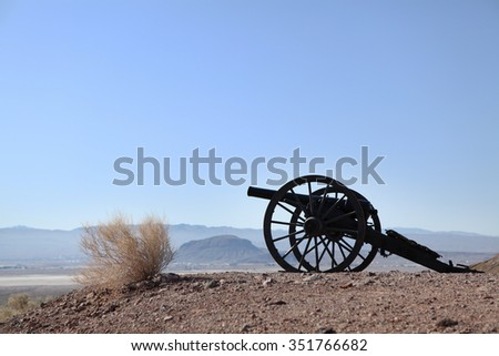 Old Civil War Cannon in the field of lookout mountain in Calico Ghost Town.