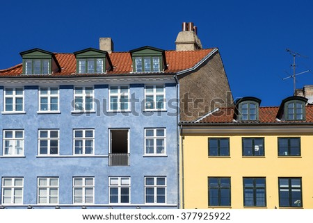 Old classic architecture of Nyhavn in Copenhagen, Denmark - stock photo