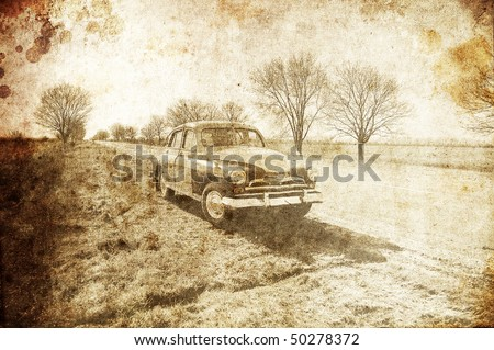 Old classic russian car near road. Photo in old image style. - stock photo