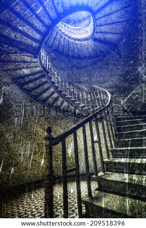 Old classic staircase in retro style - stock photo