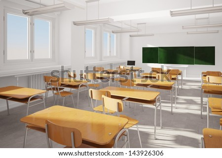 Old classroom with modern computer and green board - stock photo