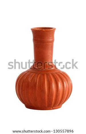 Old clay ceramic vase isolate on white background - stock photo