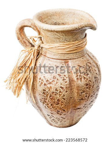Old clay jug isolated on white background. File contains a clipping path. - stock photo