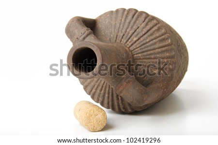 old clay wine bottle - stock photo