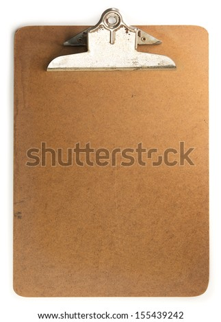 Old clipboard, isolated on white.  - stock photo