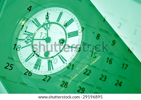 Old clock and calendar. Time concept.