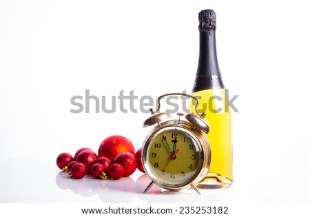Old clock and champagne - stock photo
