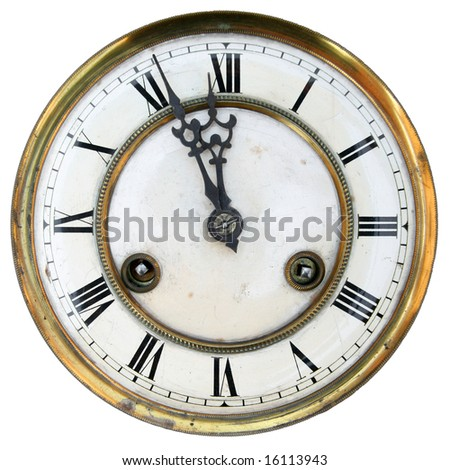 Old clock face isolated, roman numerals, about twelve - stock photo