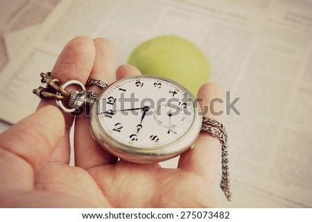 Old clock face or On time, Do not waste your time, Time management, Time is money - stock photo