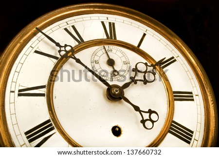 Old clock face with roman numerals - stock photo