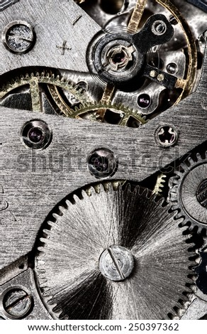 old clock gear mechanism of the background - stock photo