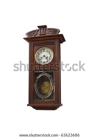 old clock isolated on the white - stock photo
