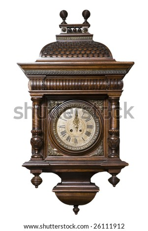 Old Clock - isolated on white