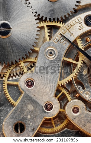 old clock machinery close up