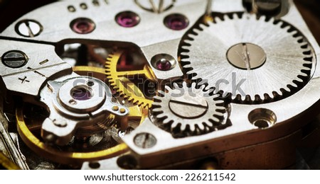 Old clock mechanism. Element of design. - stock photo