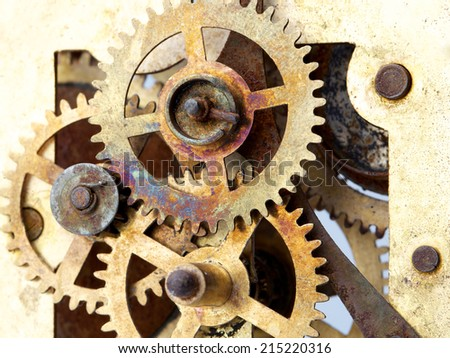 old clock mechanism with gears  - stock photo