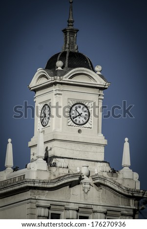 Old clock tower in Plaza de Colon, Madrid, Spain