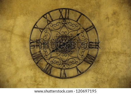 Old clock with roman numbers