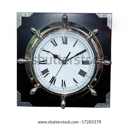 Old Clock with Roman numbers - stock photo