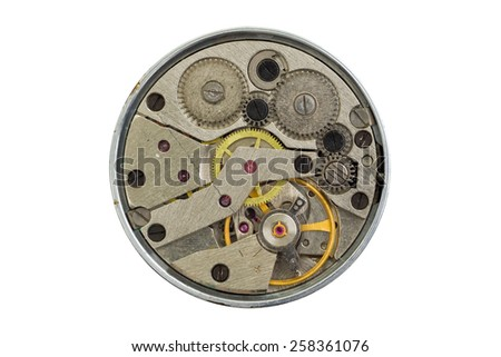 Old clockwork isolated on a white background - stock photo