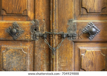 Old closed and locked door - detail & Old Closed Locked Door Detail Stock Photo 704929888 - Shutterstock