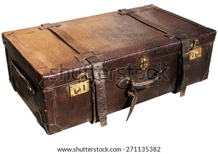 Old closed locked retro vintage leather suitcase