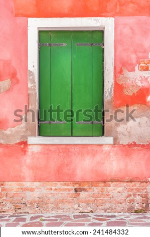 Old closed window in Venice, Italy. - stock photo