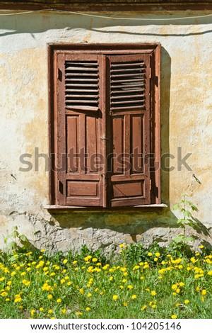 Old closed wooden window
