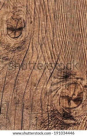 Old, coarse textured, knotted, weathered, cracked, roughly treated, plank surface.