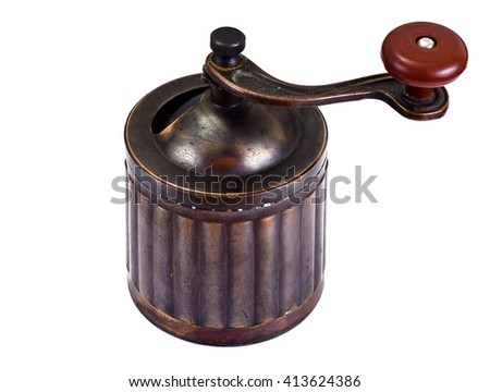 Old Coffee Grinder Isolated on White Background EPS10 - stock photo