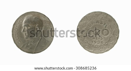 Old coin Brazil 400 reis 1938 - stock photo