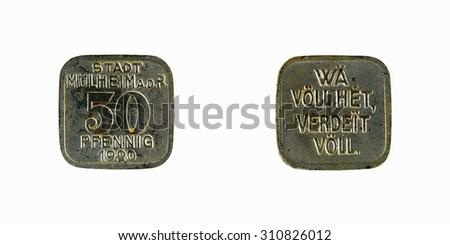Old coin  German city Munich  50 pfennig 1920 - stock photo