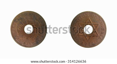Old coin Nigeria  1 penny 1959 - stock photo