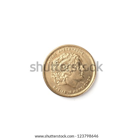 old coin on a white background - stock photo