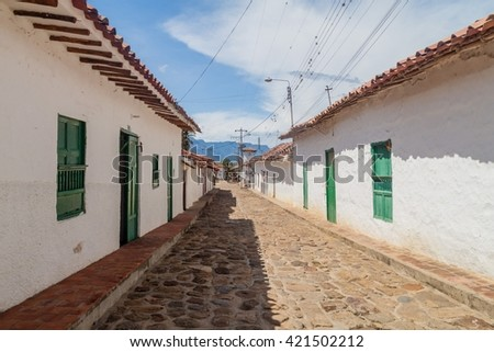 Old colonial buildings in Guane village, Colombia - stock photo
