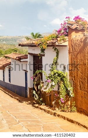 Old colonial houses in Barichara village, Colombia - stock photo