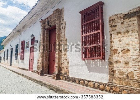 Old colonial houses in Santa Fe de Antioquia, Colombia - stock photo