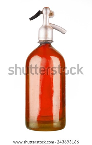 Old colored soda siphon isolated on white - stock photo