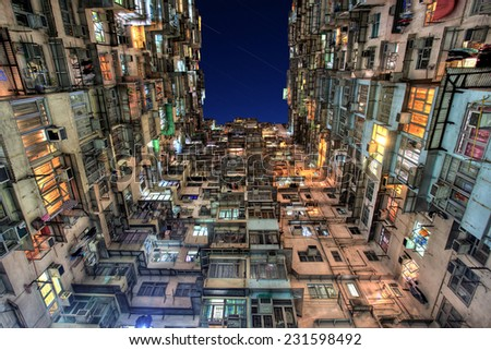 Old Colorful Apartments in Hong Kong - stock photo