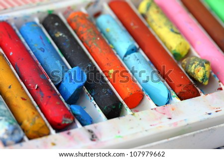 Old colorful crayons