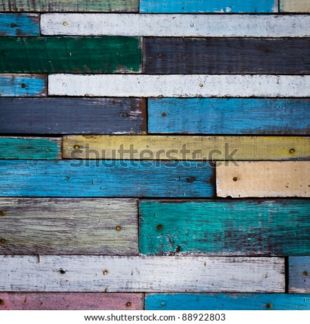 Old colorful wood wall - stock photo