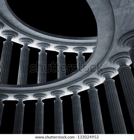 Old columns is ancient style. High resolution Realistic 3D illustration - stock photo