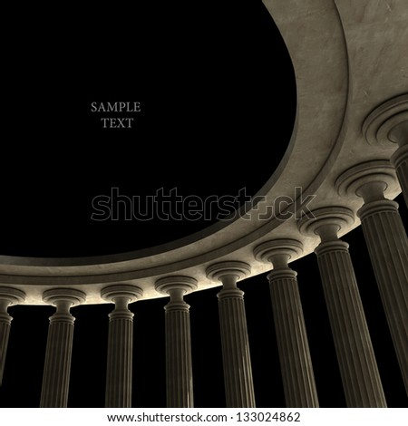 Old columns is ancient style. High resolution Realistic 3D illustration sepia toned - stock photo