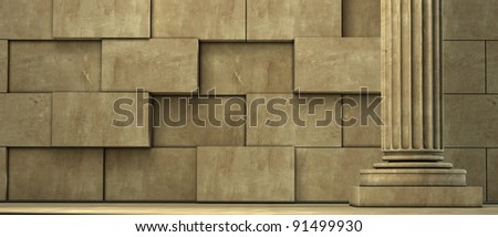 Old columns is ancient style. Realistic 3D - stock photo