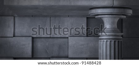 Old columns is ancient style. Realistic 3D illustration High resolution - stock photo