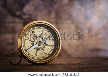 Old compass and vintage map. Retro style. - stock photo