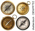 old compass collection isolated on white - stock photo
