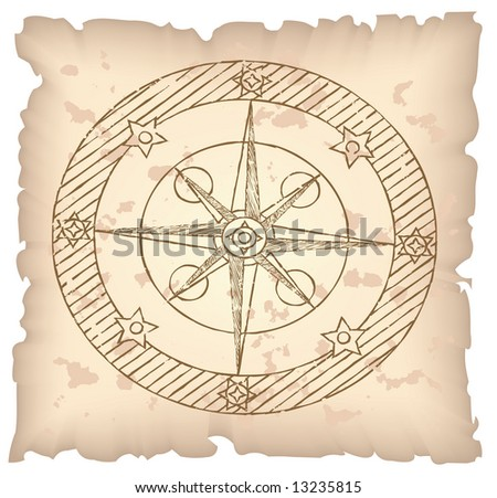 Old compass on paper background. Raster illustration.